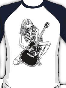 Skeleton Bones Dead Acoustic Guitar Player T-Shirt