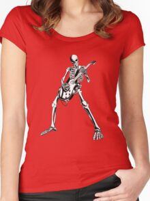 Skeleton Bones Dead Electric Guitar Player Women's Fitted Scoop T-Shirt