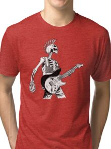 Skeleton Bones Dead Electric Guitar Player 2 Tri-blend T-Shirt