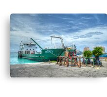Cargo boat at Potter's Cay loading freight to deliver in the Family Island - Nassau, The Bahamas Canvas Print