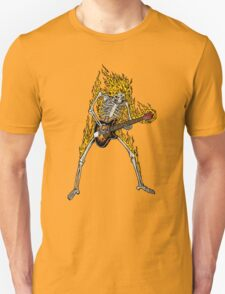 Flame Skeleton Dead Electric Guitar Player T-Shirt