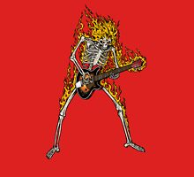Flame Skeleton Dead Electric Guitar Player Unisex T-Shirt