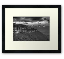 Icons (Monochrome) - Jamison Valley, Katoomba Blue Mountains World Heritage Area - The HDR Experience Framed Print