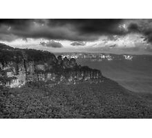 Icons (Monochrome) - Jamison Valley, Katoomba Blue Mountains World Heritage Area - The HDR Experience Photographic Print