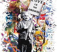 Albert Einstein Genius Banksy Inspiration Graffiti Street Art Mashup  by baray7