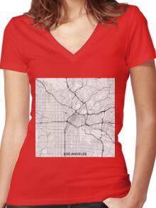 Los Angeles Map Gray Women's Fitted V-Neck T-Shirt