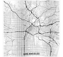 Los Angeles Map Gray Poster