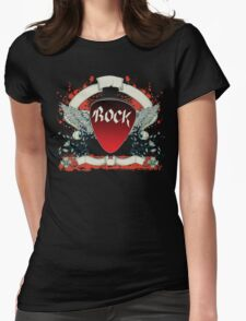 Rock and Roll Guitar Pick Wings Womens Fitted T-Shirt