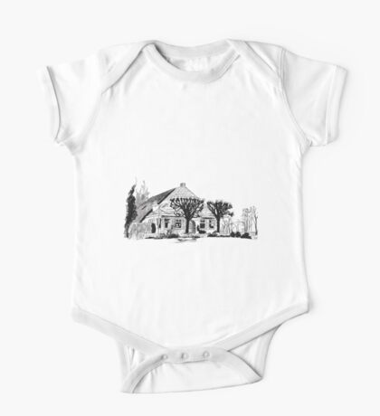 Farmhouse with lime trees One Piece - Short Sleeve