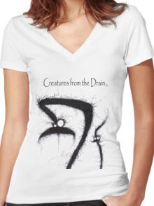the creatures from the drain 5 Women's Fitted V-Neck T-Shirt