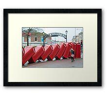 Lean on Me: Telephone Boxes: Kingston, UK. Framed Print