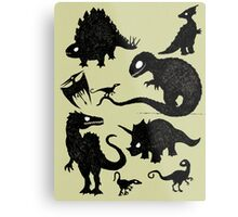 Silhouetted Dinosaurs Metal Print