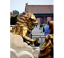 Lion Statue, Forbidden Palace, Beijing, China Photographic Print