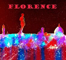 Florence Italy Skyline With Red Banner by bill holkham