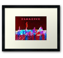 Florence Italy Skyline With Red Banner Framed Print