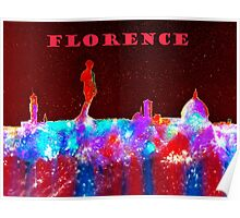 Florence Italy Skyline With Red Banner Poster