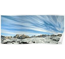 Wideangle dolomites cloudy landscape  Poster