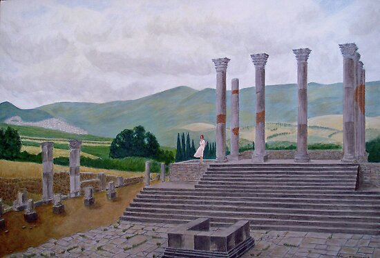 Ruins of Volubilis near Moulay Idris, Morocco by johnpbroderick