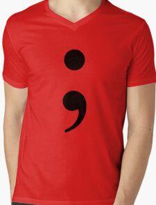 Black Semicolon Mens V-Neck T-Shirt