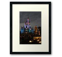 WDW Magic Kingdom Castle & Walt at night Framed Print
