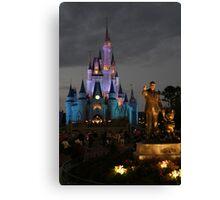 WDW Magic Kingdom Castle & Walt at night Canvas Print
