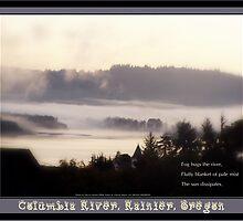 foggy sunrise, Columbia River, Rainier Oregon 2 & haiku  by PoemsProseArt