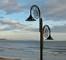Nautilus Lamps Overlooking Lyme Bay, Dorset, uk by lynn carter