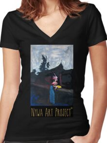 Waiting on the bridge Women's Fitted V-Neck T-Shirt