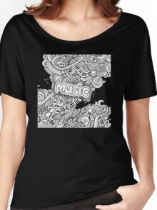 Black White Music Collage Women's Relaxed Fit T-Shirt