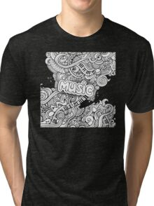 Black White Music Collage Tri-blend T-Shirt