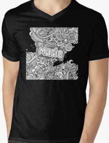 Black White Music Collage Mens V-Neck T-Shirt