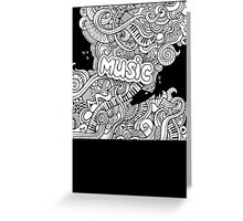 Black White Music Collage Greeting Card