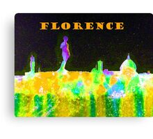 Florence Italy Skyline With Orange Banner Canvas Print