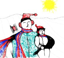 Father and son sledding day by linmarie