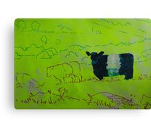 Belted Galloway Cow Illustration on Yellow Background Canvas Print