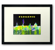 Florence Italy Skyline With Yellow Banner Framed Print