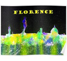 Florence Italy Skyline With Yellow Banner Poster