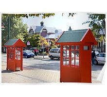 Traditional Red Telephone Boxes-Christchurch NZ Poster