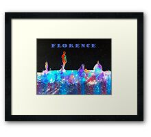 Florence Italy Skyline With Blue Banner Framed Print