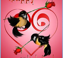 Valentines Day Sparrow  by Lotacats