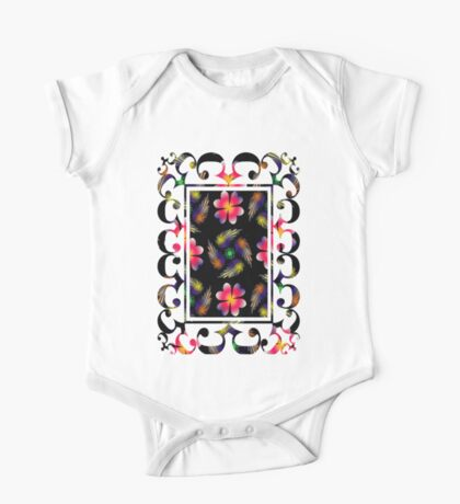 Feathers And Flowers One Piece - Short Sleeve