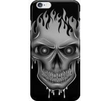Flame Skull - Silver (2) iPhone Case/Skin