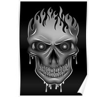 Flame Skull - Silver (2) Poster