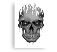 Flame Skull - Silver Canvas Print