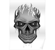 Flame Skull - Silver Poster