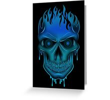 Flame Skull - Blue (2) Greeting Card