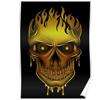 Flame Skull - Gold (2) Poster