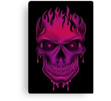 Flame Skull - Hot Pink (2) Canvas Print