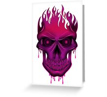 Flame Skull - Hot Pink Greeting Card