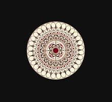 Hand Drawn Cream And Red Mandala Unisex T-Shirt